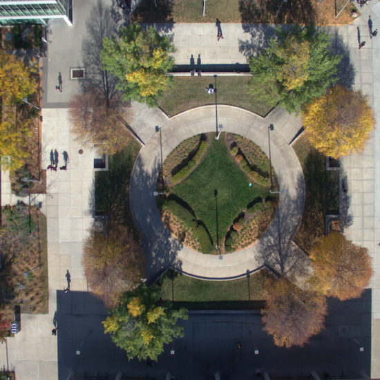 a rain drop's view of grassy area near Douglas Hall that resembles Walter Netsch's vision of a drop of water