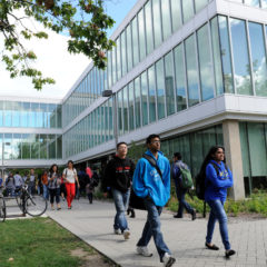 students walking on east side near Lincoln Hall