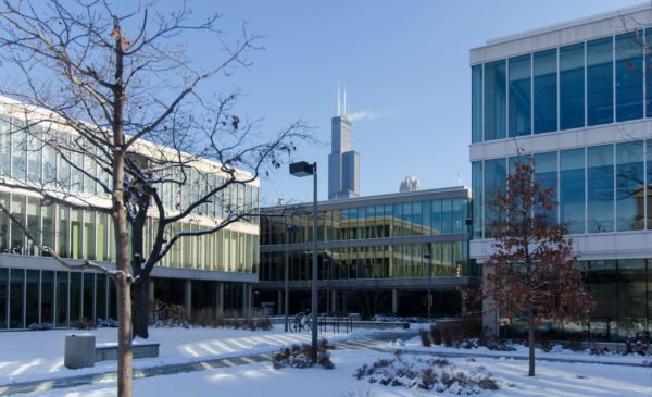 Grant, Douglas, and Lincoln Halls in winter with the Sears Tower visible in the background Photo: Joshua Clark