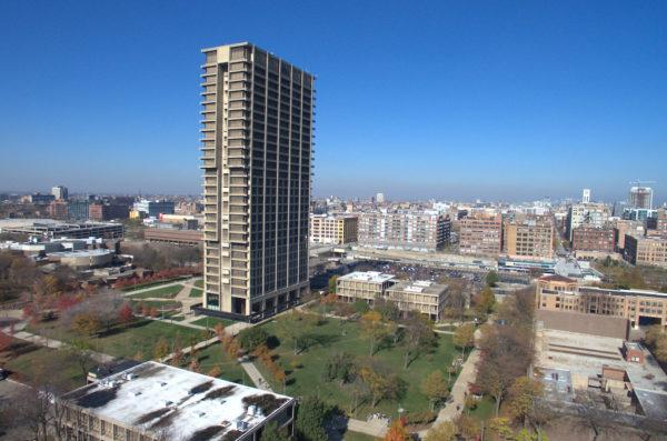 University hall and surrounding area