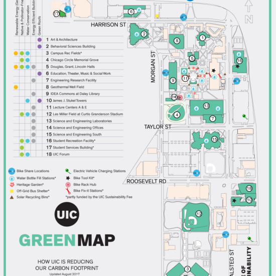 Map of UIC's sustainable physical features on the east side of campus