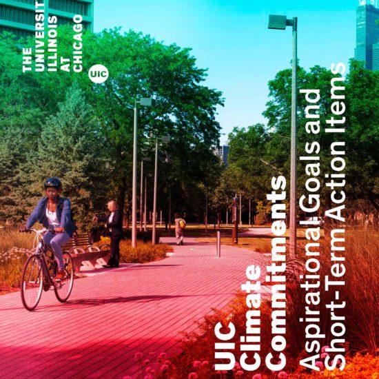 student riding bike through the Grove