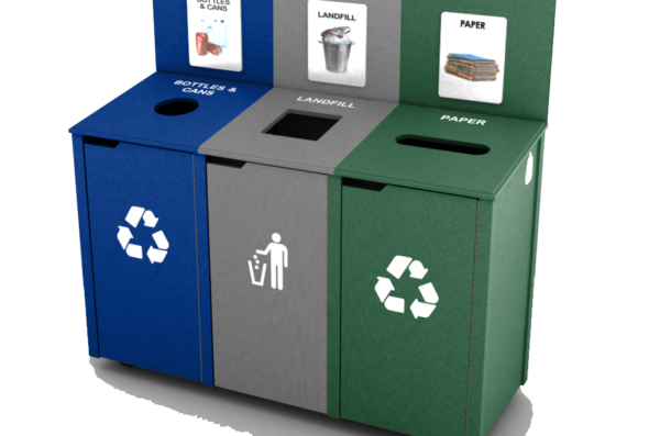 The Gold standard of recycling bins at UIC is a cabinet stlye with three opening, one for paper, one for landfill, and one for glass, metal, and plastics