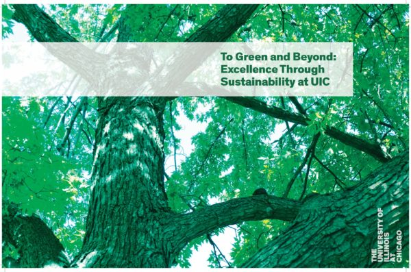 cover of the To Green and Beyond report, a green tree