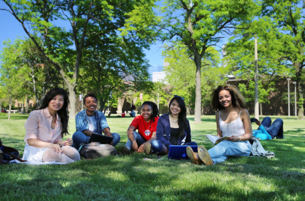 students sitting on the grass underneath trees