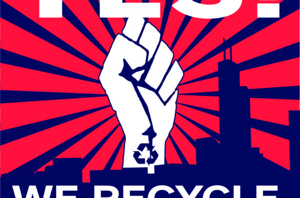 yes! we recycle poster with power fist in the air above teh city skyline
