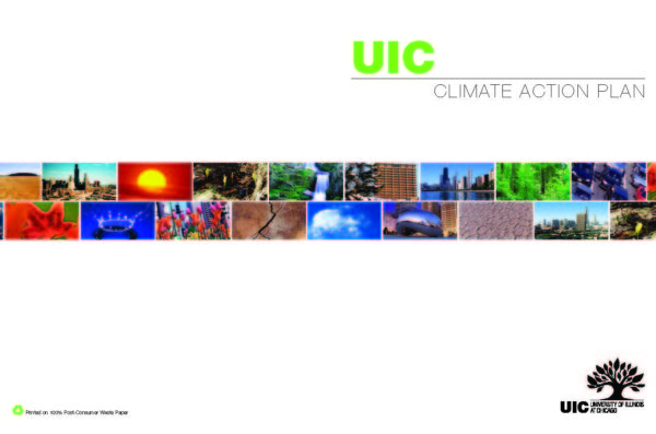 cover of the Climate Action Plan with multiple views of UIC and the City.