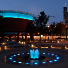 """Skyspace"" by James Turrell at Gateway Plaza lit up at night Photo: Roberta Dupuis-Devlin"