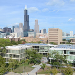 ariel view of Lincoln, Grant, and Douglass Halls with a view of the Chicago Skyline in the background