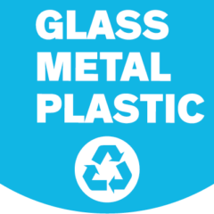 glass metal plastic recycling sign