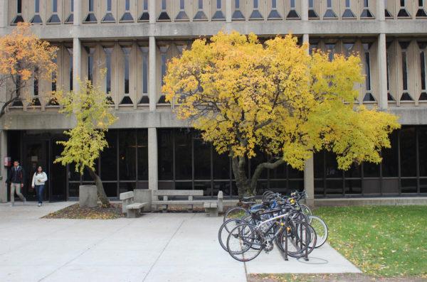 bike on rack outsode of burnham hall
