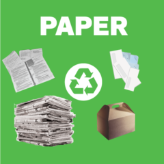 Paper recycling sign with materials like notebooks, newspapers, envelopes (with staples) and cardboard lunch boxes