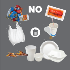 Do not recycle plastics like bags, food wrappers, styrofoam, #6 plastics, straws