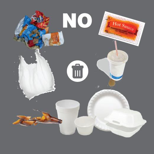 Do not recycle plastics like bags, food wrappers, styrofoam, #6 plastics, straws