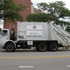 UIC recycling truck driving on Taylor Street
