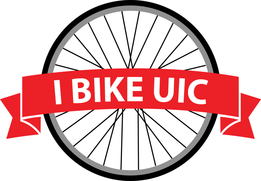 I Bike UIC  logo: I BIKE UIC written across a banner inside a bike wheel