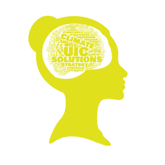 profile silhouette icon of a women with sustainability buzz words in her mind