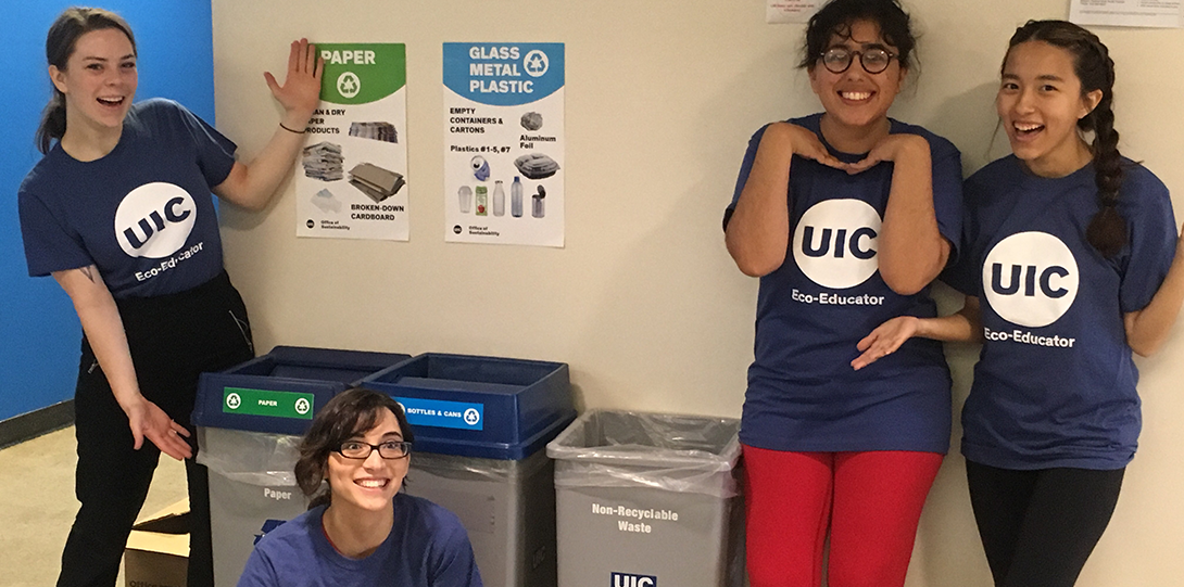 teh 2018 student recycling team shows off the 3 set recycling bins on campus
