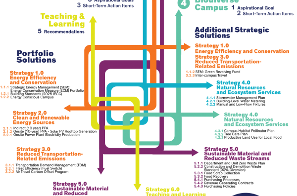 CAIP Solutions Matrix illustrating the strategies intertwined in the style of a transit map.