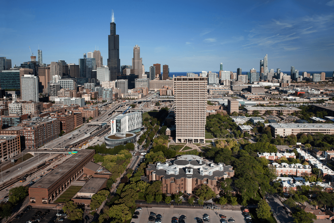 Chicago skyline, as shown from a drone hovering over UIC's campus.