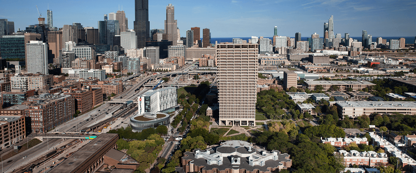 Chicago skyline, Lake michigan in background, UIC east campus (UH, ARC) in foreground