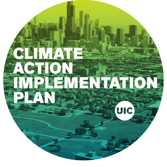 Climate Action Implementation logo over chicago skyline