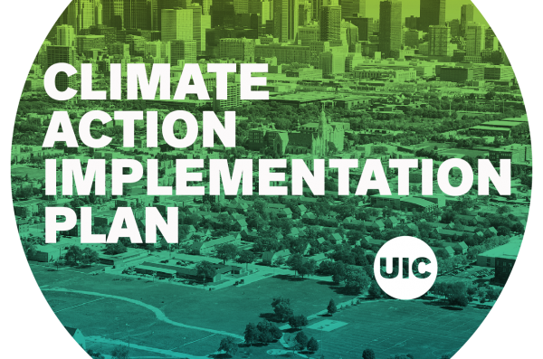 CLIMATE ACTION implementation plan logo over chicago skyline