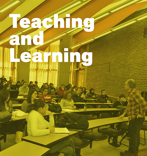 students listen to a professor in Lecture Center A