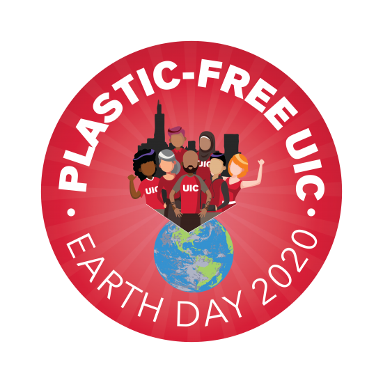 Plastic-free UIC. Earth Day 2020 logo