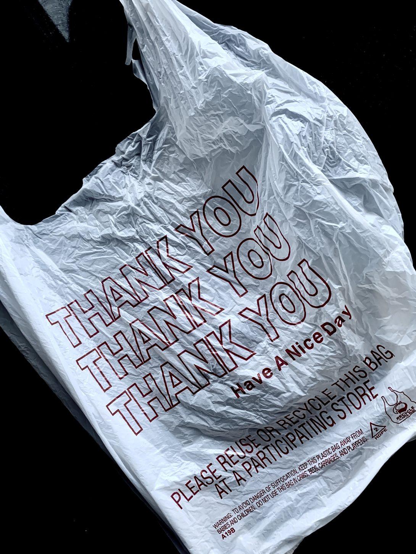 plastic bag that reads