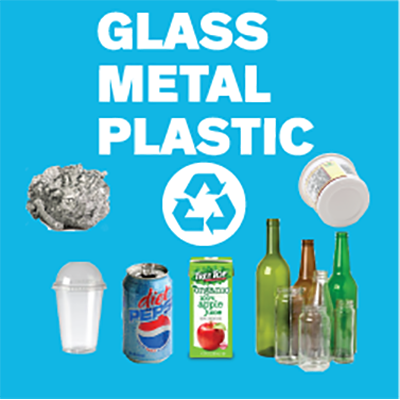 Glass, metal, and plastic recycling sign with materials like bottles, cans, aluminum foil, yogurt containers, and juice boxes