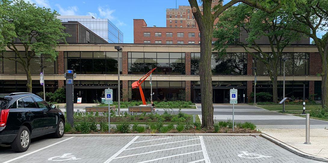 parking lot B2 is constructed with small rectangular permeable pavers
