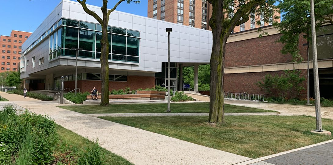 permeable pavement, ran gardens and a seating area outside of the Sports and Fitness Center